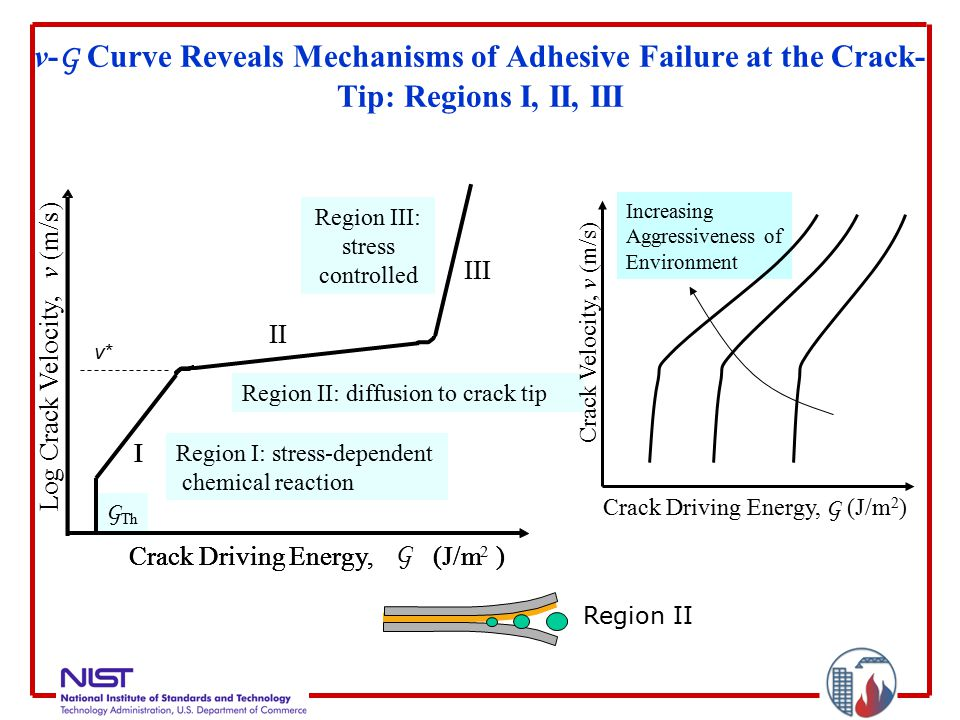 v- G Curve Reveals Mechanisms of Adhesive Failure at the Crack- Tip: Regions I, II, III v*v* Region II: diffusion to crack tip Region III: stress controlled G Th Region I: stress-dependent chemical reaction Crack Driving Energy,(J/m) I Crack Driving Energy,(J/m) I II Log Crack Velocity, v (m/s) Crack Driving Energy, G (J/m 2 ) I III Increasing Aggressiveness of Environment Crack Velocity, v (m/s) Crack Driving Energy, G (J/m 2 ) Region II