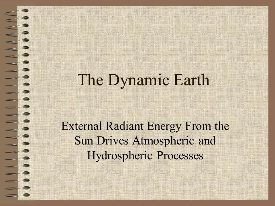 The Dynamic Earth External Radiant Energy From the Sun Drives Atmospheric and Hydrospheric Processes
