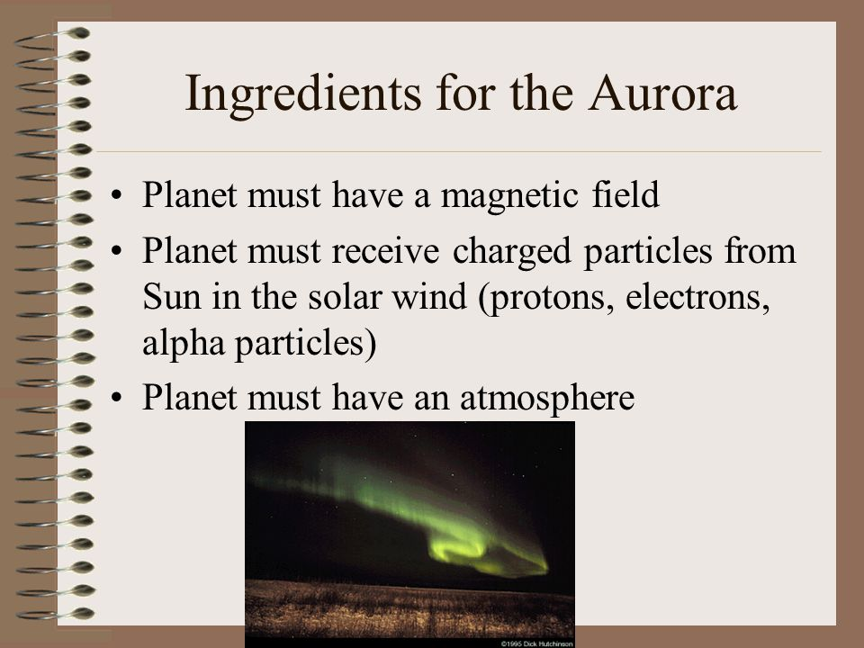 Ingredients for the Aurora Planet must have a magnetic field Planet must receive charged particles from Sun in the solar wind (protons, electrons, alp