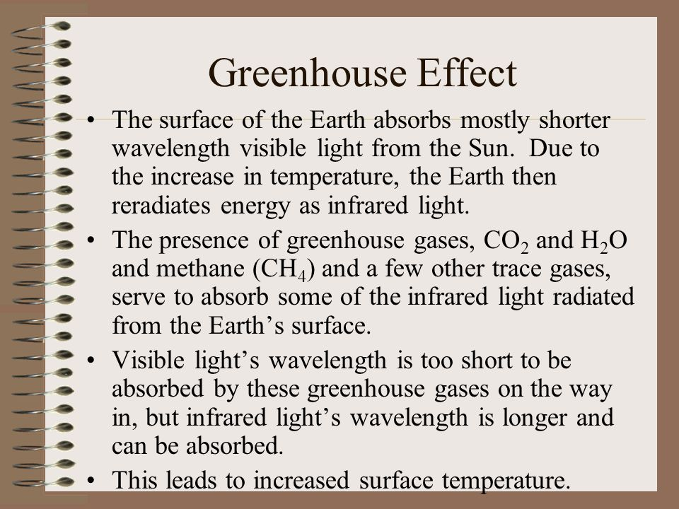 Greenhouse Effect The surface of the Earth absorbs mostly shorter wavelength visible light from the Sun. Due to the increase in temperature, the Earth
