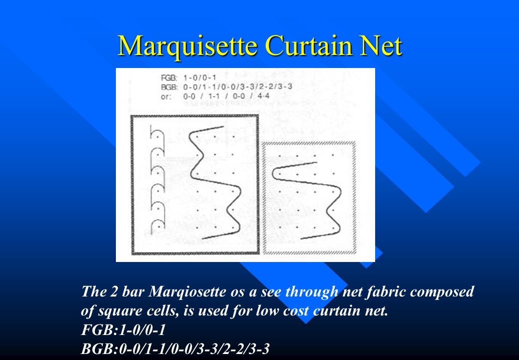 Marquisette Curtain Net n This is a two bar inlay fabric with FGB making the pillar stitch and the BGB making the inlay.