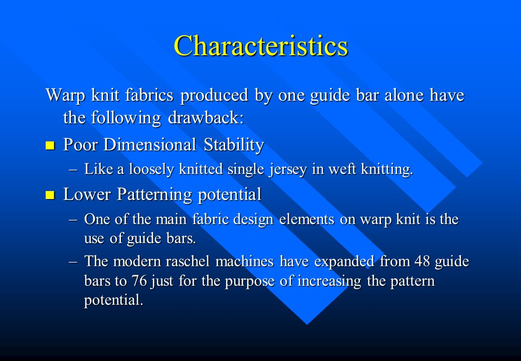 Single Guide Bar Fabrics