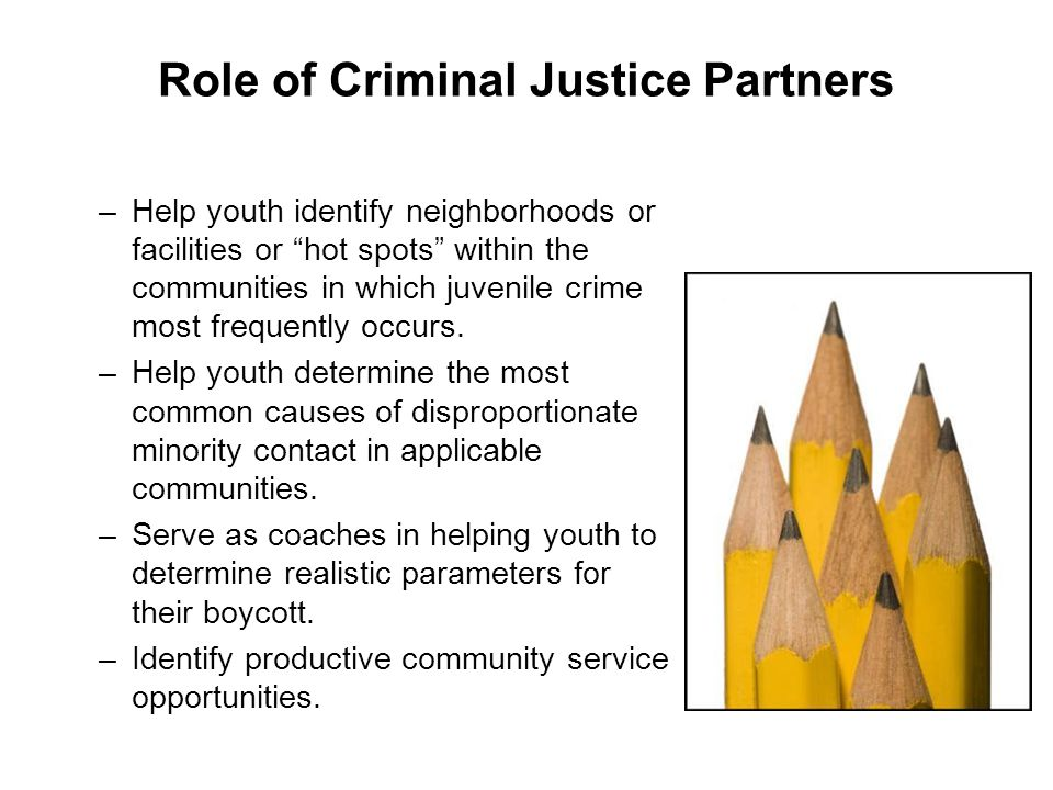 Role of Criminal Justice Partners –H–Help youth identify neighborhoods or facilities or hot spots within the communities in which juvenile crime most frequently occurs.