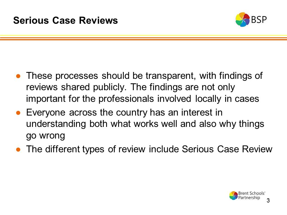 3 ●These processes should be transparent, with findings of reviews shared publicly. The findings are not only important for the professionals involved