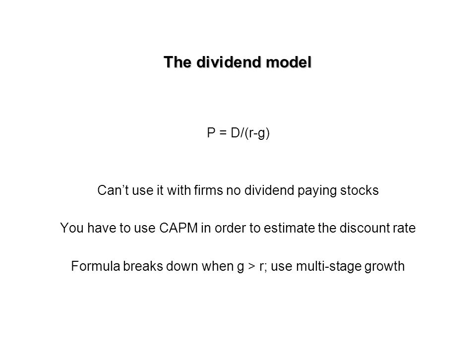 DCF techniques The dividend model One or multiple stage growth Total market value of firm: Use three alternative DCF methods