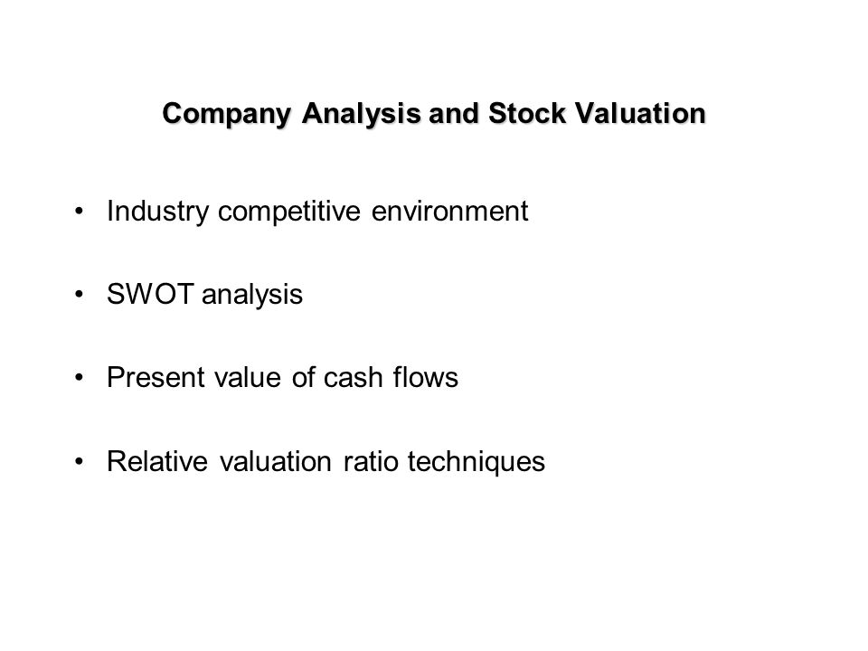 Company Analysis and Stock Valuation After analyzing the economy and stock markets for several countries, you have decided to invest some portion of your portfolio in common stocks After analyzing various industries, you have identified those industries that appear to offer above-average risk-adjusted performance over your investment horizon Which are the best companies.
