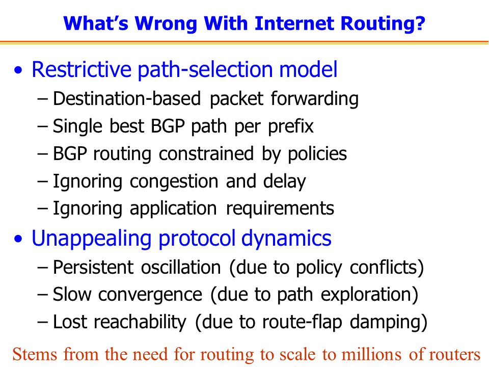 ISP Support: Direct Control Influence over paths for virtual links –Guarantees of link/node disjoint paths.