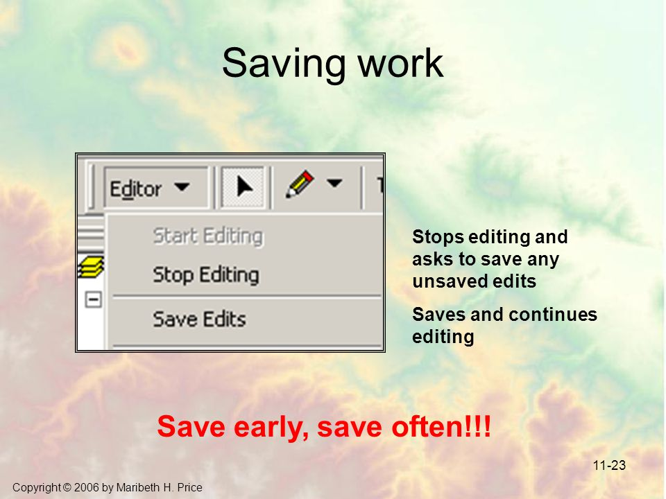 Copyright © 2006 by Maribeth H. Price 11-23 Saving work Save early, save often!!! Stops editing and asks to save any unsaved edits Saves and continues