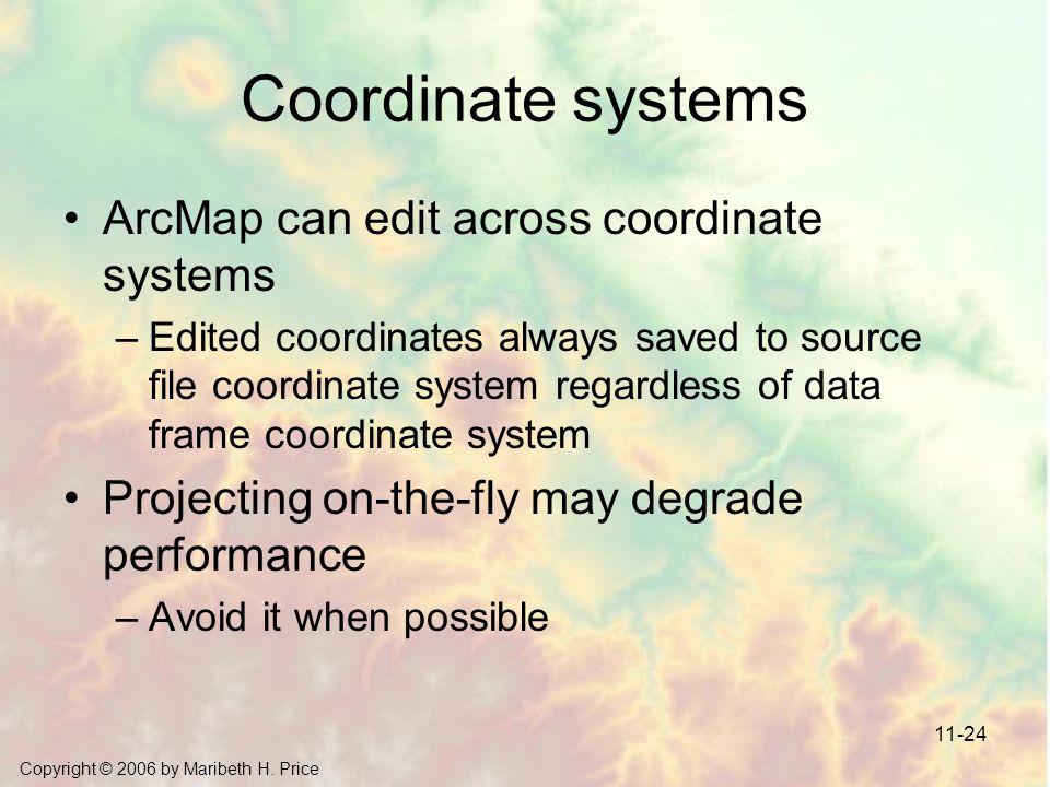 Copyright © 2006 by Maribeth H. Price 11-24 Coordinate systems ArcMap can edit across coordinate systems –Edited coordinates always saved to source fi