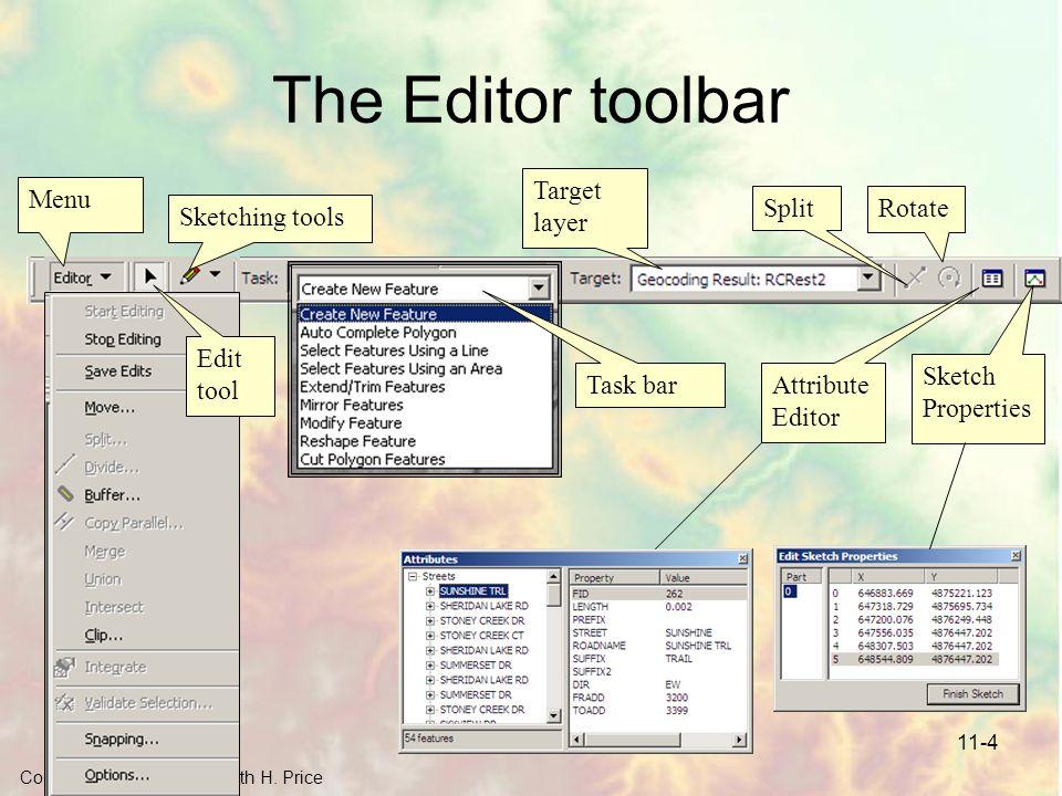 Copyright © 2006 by Maribeth H. Price 11-4 The Editor toolbar Menu Sketching tools Task bar Target layer SplitRotate Sketch Properties Attribute Edito