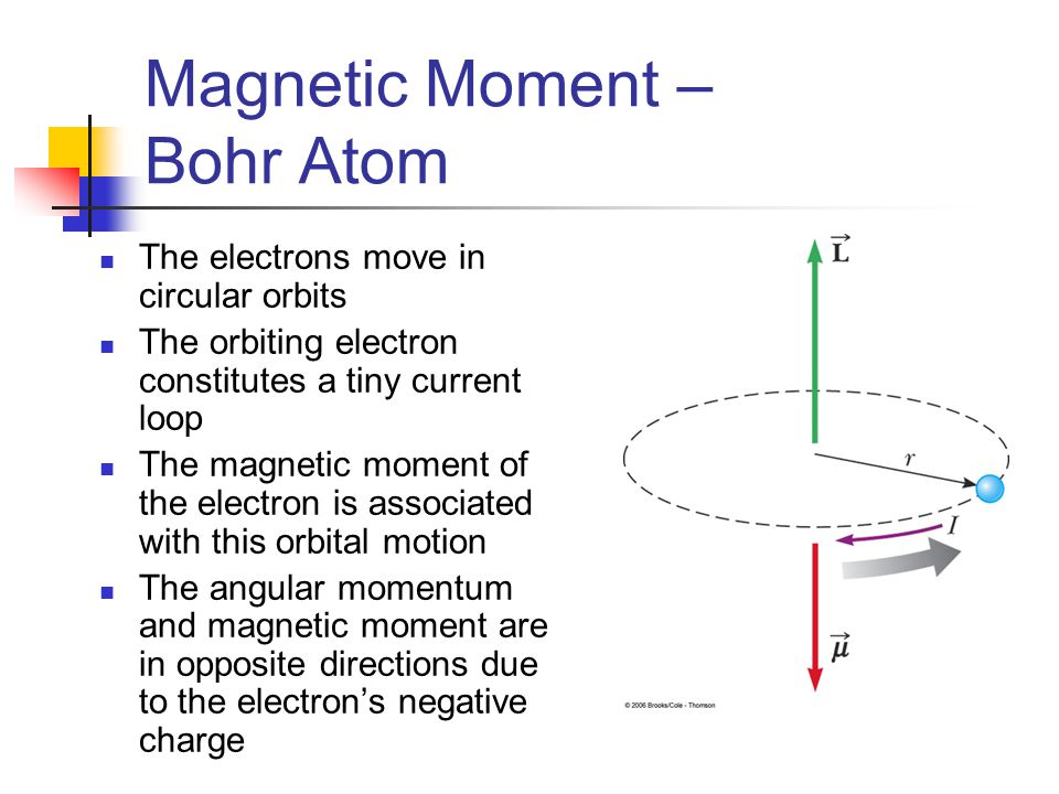 Magnetic Moment – Bohr Atom The electrons move in circular orbits The orbiting electron constitutes a tiny current loop The magnetic moment of the ele