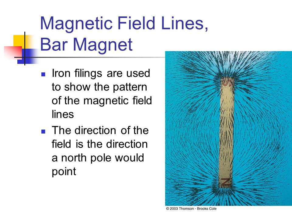 Magnetic Field Lines, Bar Magnet Iron filings are used to show the pattern of the magnetic field lines The direction of the field is the direction a n