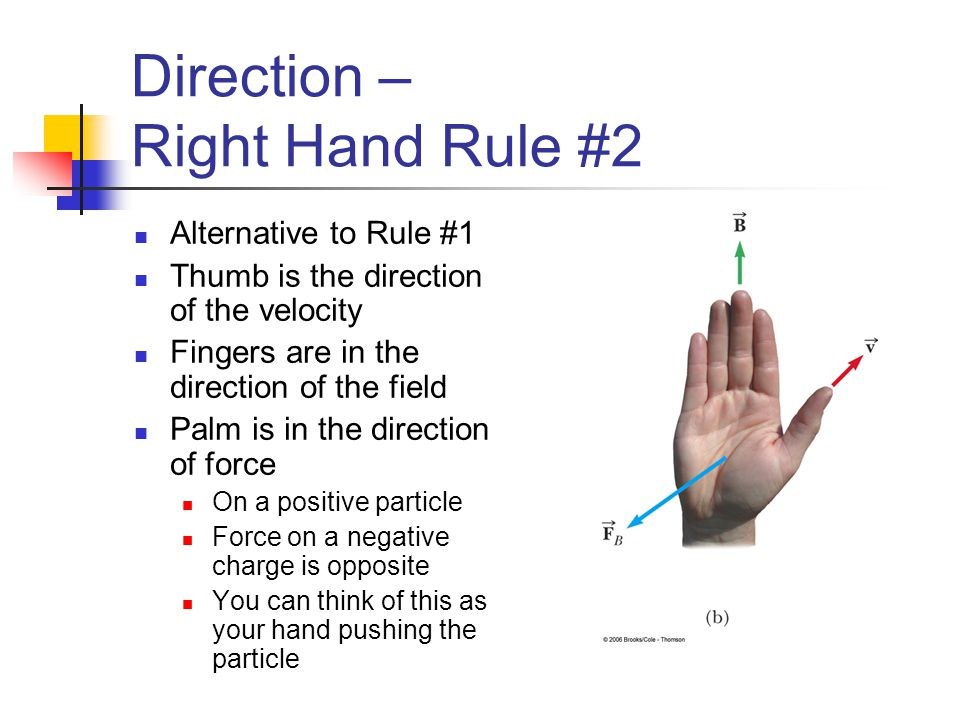Direction – Right Hand Rule #2 Alternative to Rule #1 Thumb is the direction of the velocity Fingers are in the direction of the field Palm is in the