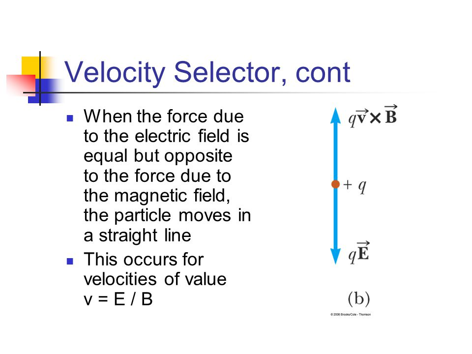 Velocity Selector, cont When the force due to the electric field is equal but opposite to the force due to the magnetic field, the particle moves in a