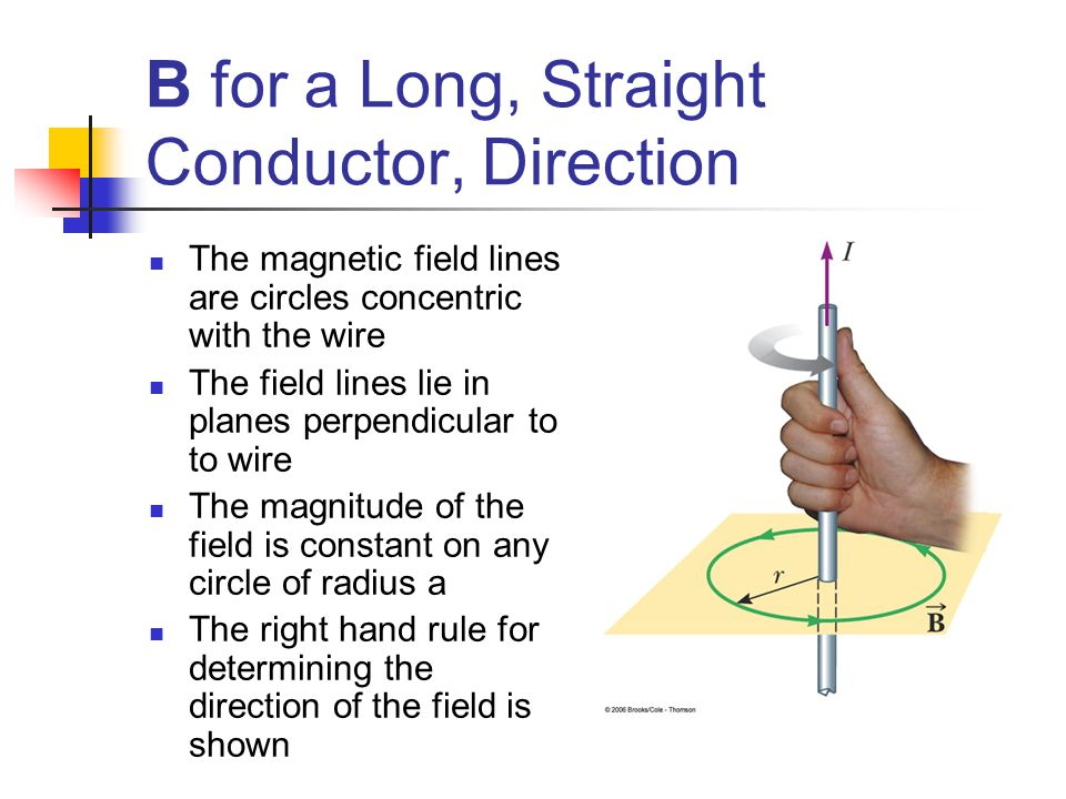 B for a Long, Straight Conductor, Direction The magnetic field lines are circles concentric with the wire The field lines lie in planes perpendicular