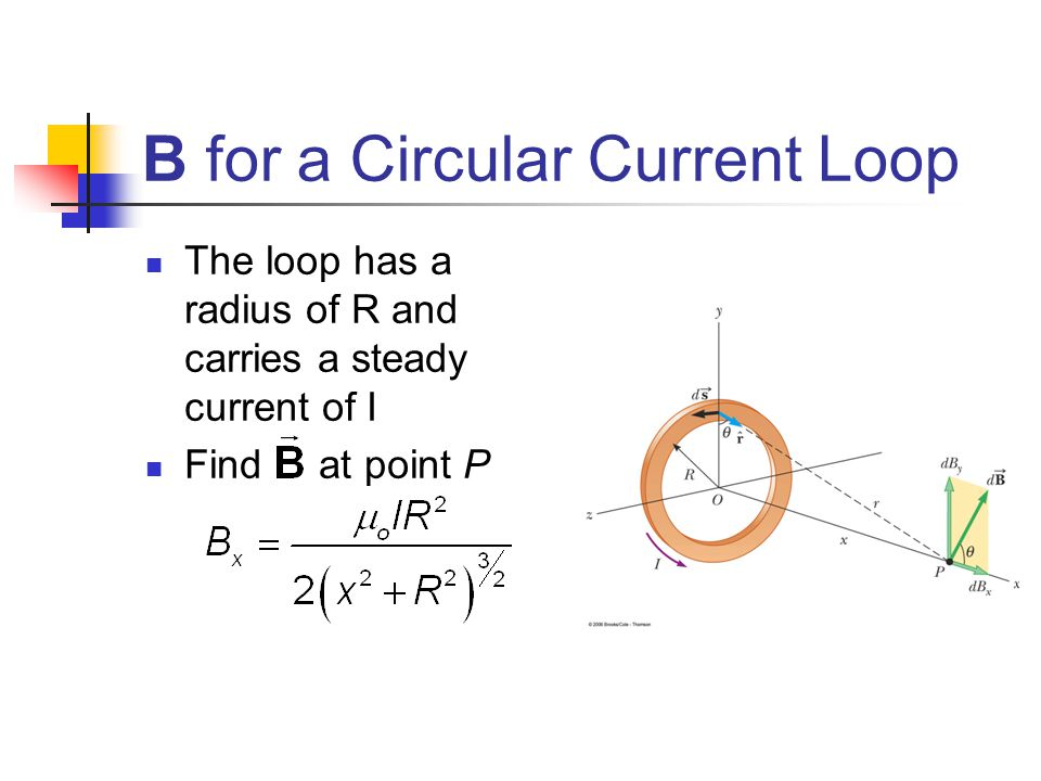 B for a Circular Current Loop The loop has a radius of R and carries a steady current of I Find at point P