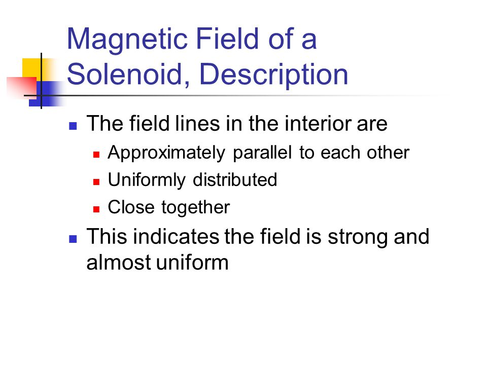 Magnetic Field of a Solenoid, Description The field lines in the interior are Approximately parallel to each other Uniformly distributed Close togethe