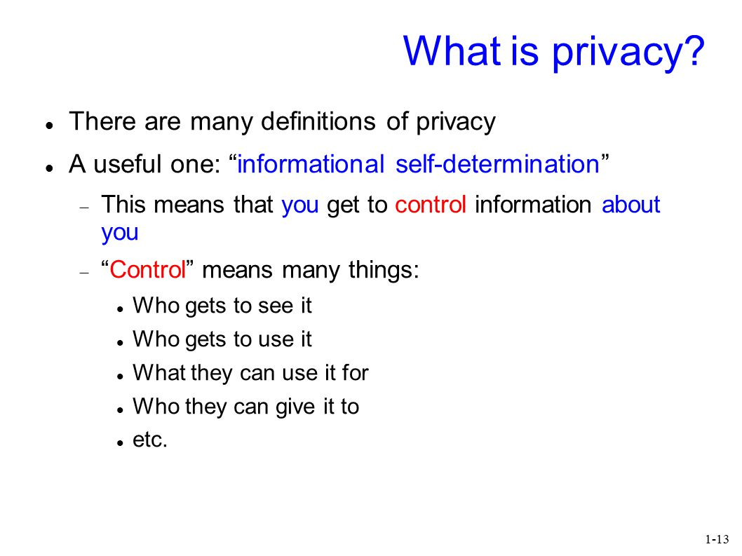1-13 What is privacy.