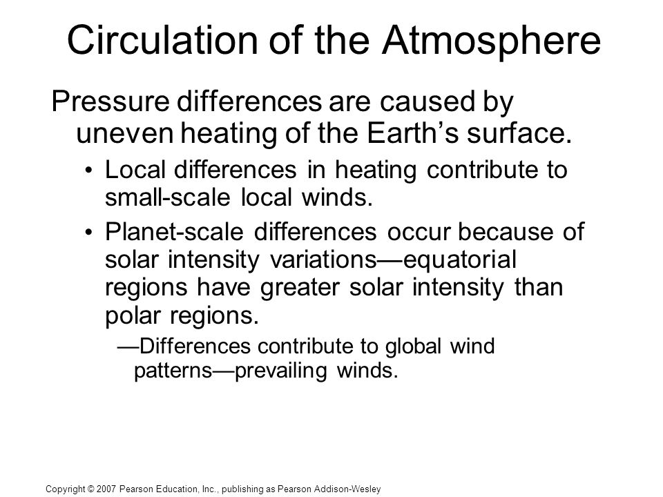 Copyright © 2007 Pearson Education, Inc., publishing as Pearson Addison-Wesley Circulation of the Atmosphere Pressure differences are caused by uneven heating of the Earth's surface.