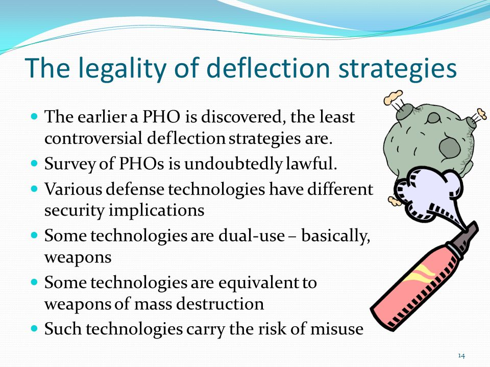 The legality of deflection strategies The earlier a PHO is discovered, the least controversial deflection strategies are.