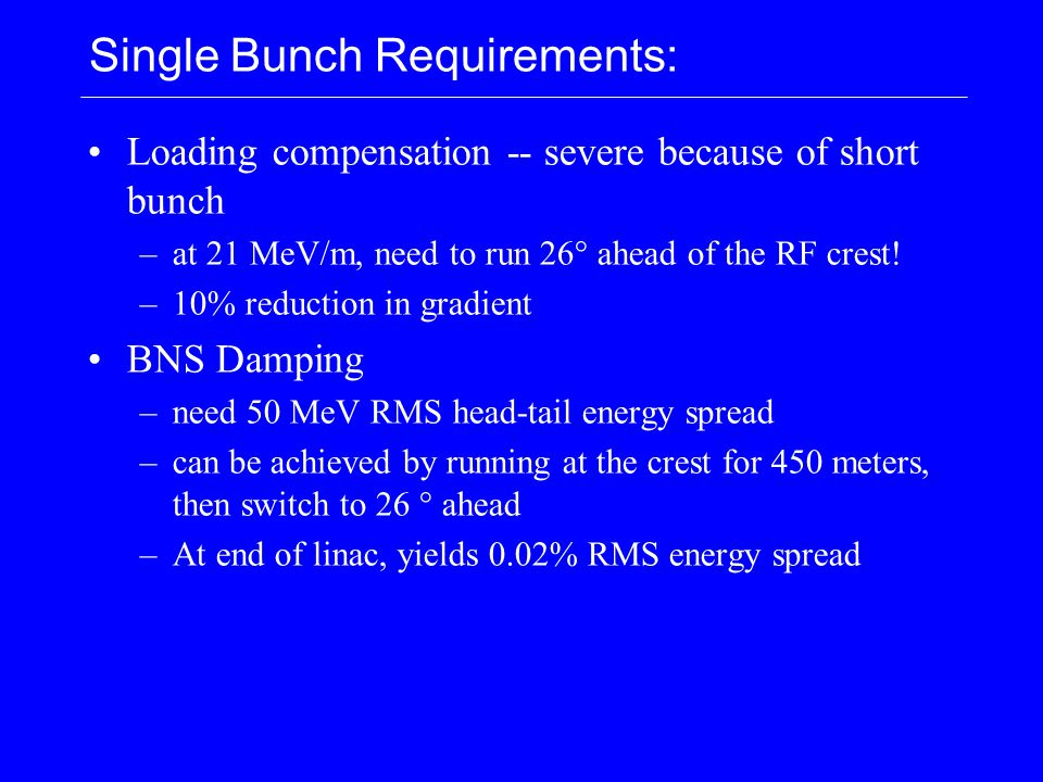 Single Bunch Requirements: Loading compensation -- severe because of short bunch –at 21 MeV/m, need to run 26° ahead of the RF crest! –10% reduction i