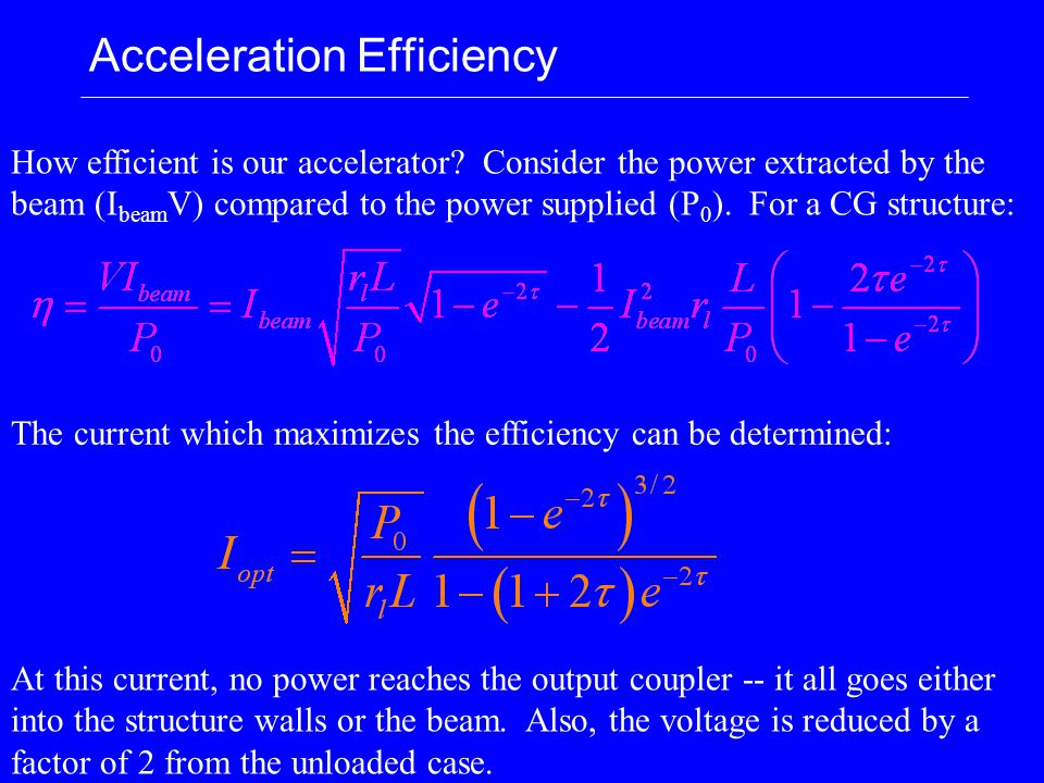 Acceleration Efficiency How efficient is our accelerator.