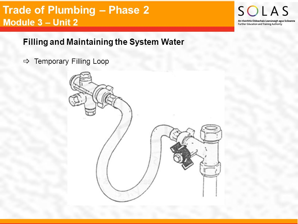 Trade of Plumbing – Phase 2 Module 3 – Unit 2 Filling and Maintaining the System Water  Temporary Filling Loop