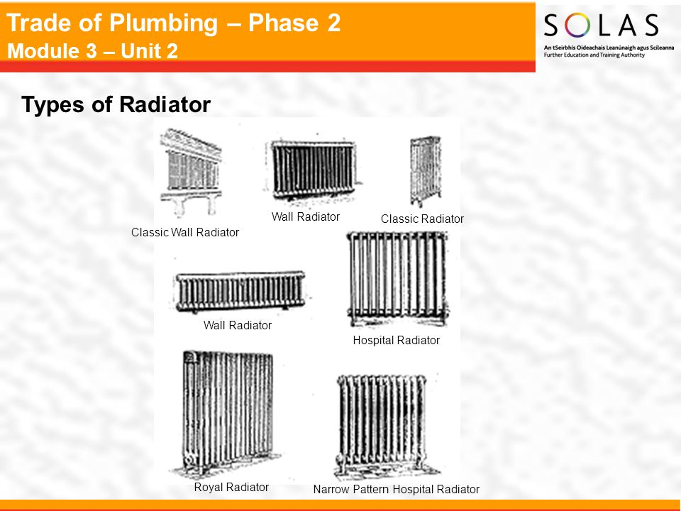 Trade of Plumbing – Phase 2 Module 3 – Unit 2 Types of Radiator Classic Wall Radiator Wall Radiator Classic Radiator Wall Radiator Hospital Radiator R