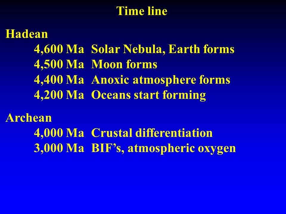 Time line Hadean 4,600 MaSolar Nebula, Earth forms 4,500 MaMoon forms 4,400 MaAnoxic atmosphere forms 4,200 MaOceans start forming Archean 4,000 MaCrustal differentiation 3,000 MaBIF's, atmospheric oxygen