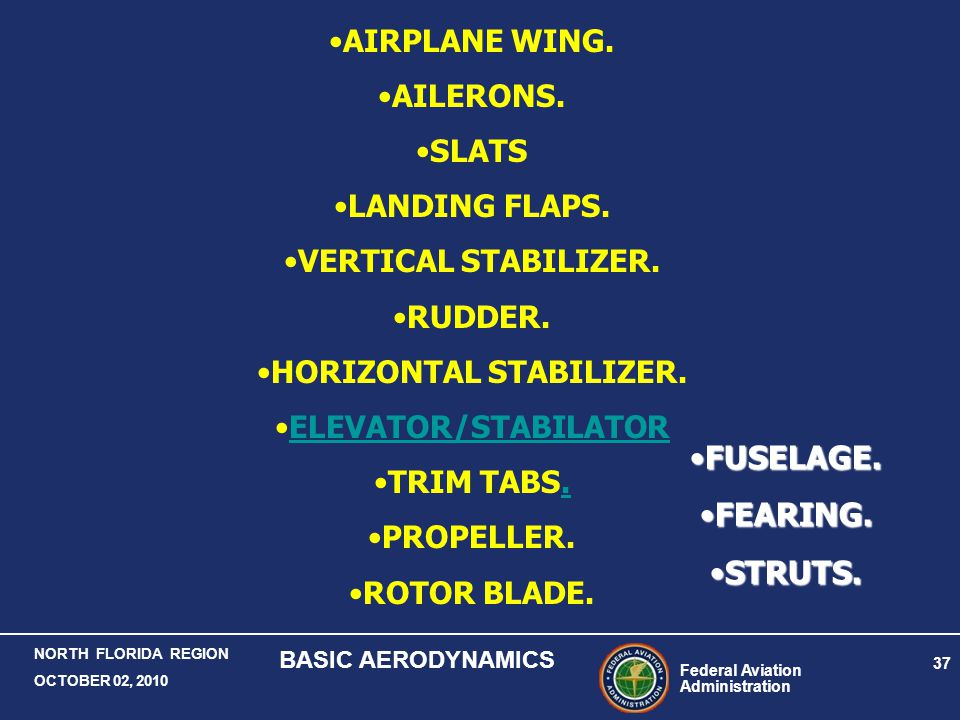 Federal Aviation Administration 37 NORTH FLORIDA REGION OCTOBER 02, 2010 BASIC AERODYNAMICS AIRPLANE WING. AILERONS. SLATS LANDING FLAPS. VERTICAL STA