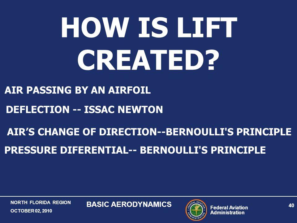Federal Aviation Administration 40 NORTH FLORIDA REGION OCTOBER 02, 2010 BASIC AERODYNAMICS HOW IS LIFT CREATED? DEFLECTION -- ISSAC NEWTON AIR'S CHAN
