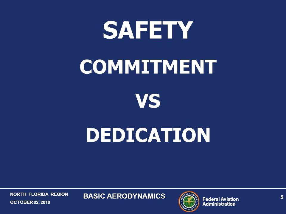 Federal Aviation Administration 5 NORTH FLORIDA REGION OCTOBER 02, 2010 BASIC AERODYNAMICS SAFETY COMMITMENT VS DEDICATION