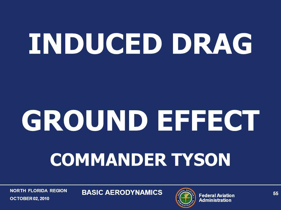 Federal Aviation Administration 55 NORTH FLORIDA REGION OCTOBER 02, 2010 BASIC AERODYNAMICS GROUND EFFECT COMMANDER TYSON INDUCED DRAG