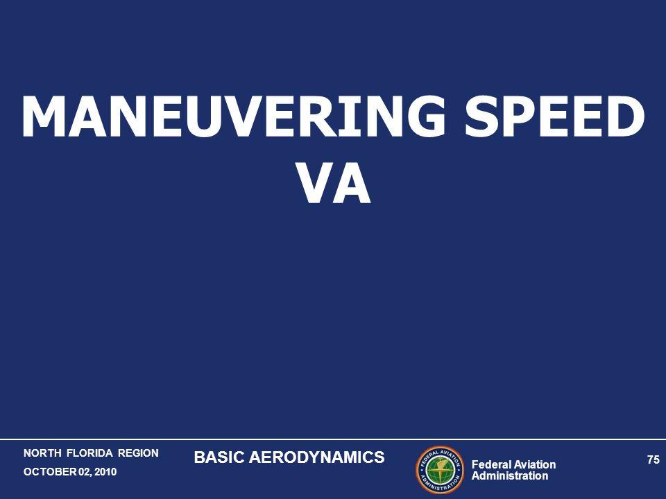 Federal Aviation Administration 75 NORTH FLORIDA REGION OCTOBER 02, 2010 BASIC AERODYNAMICS MANEUVERING SPEED VA