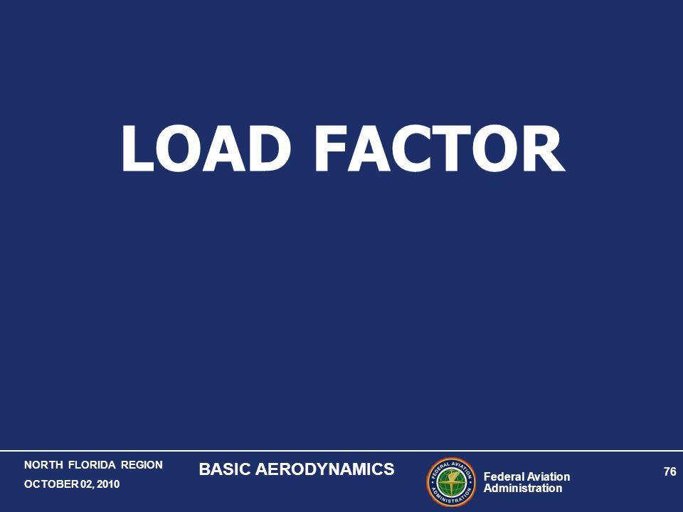 Federal Aviation Administration 76 NORTH FLORIDA REGION OCTOBER 02, 2010 BASIC AERODYNAMICS LOAD FACTOR