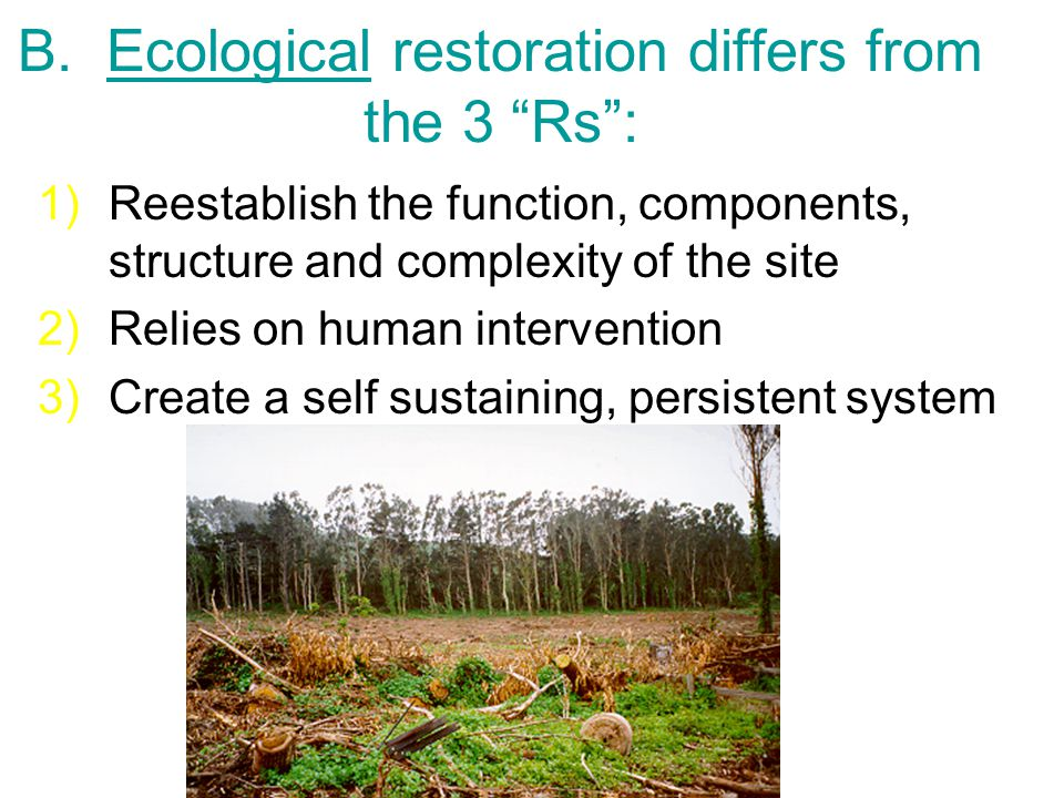 """B. Ecological restoration differs from the 3 """"Rs"""": 1)Reestablish the function, components, structure and complexity of the site 2)Relies on human inte"""