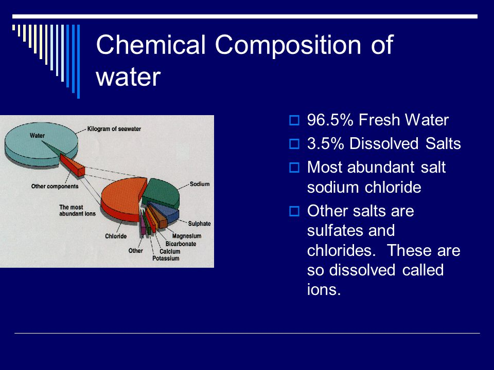 Chemical Composition of water  96.5% Fresh Water  3.5% Dissolved Salts  Most abundant salt sodium chloride  Other salts are sulfates and chlorides