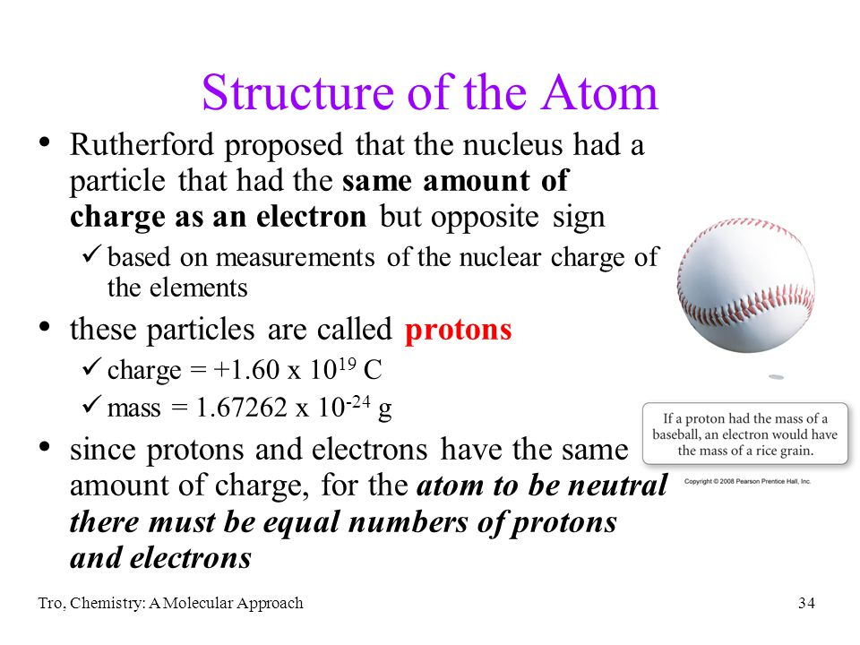 33 Rutherford's Interpretation – the Nuclear Model 1) The atom contains a tiny dense center called the nucleus the amount of space taken by the nucleu