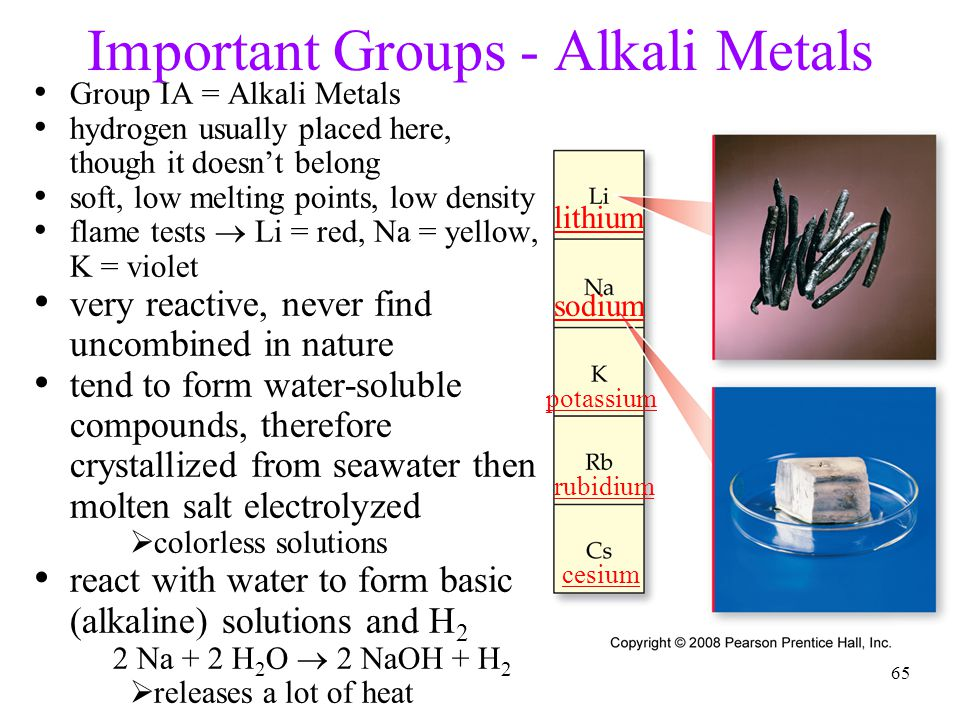 Tro, Chemistry: A Molecular Approach64 Important Groups - Hydrogen nonmetal colorless, diatomic gas very low melting point and density reacts with non
