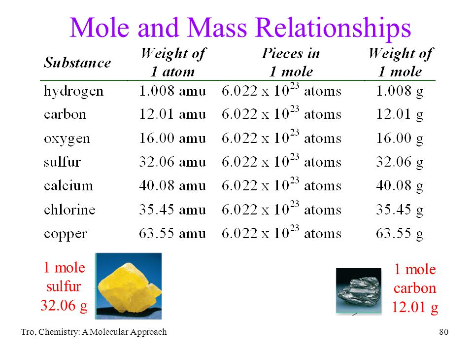Tro, Chemistry: A Molecular Approach79 Relationship Between Moles and Mass The mass of one mole of atoms is called the molar mass The molar mass of an