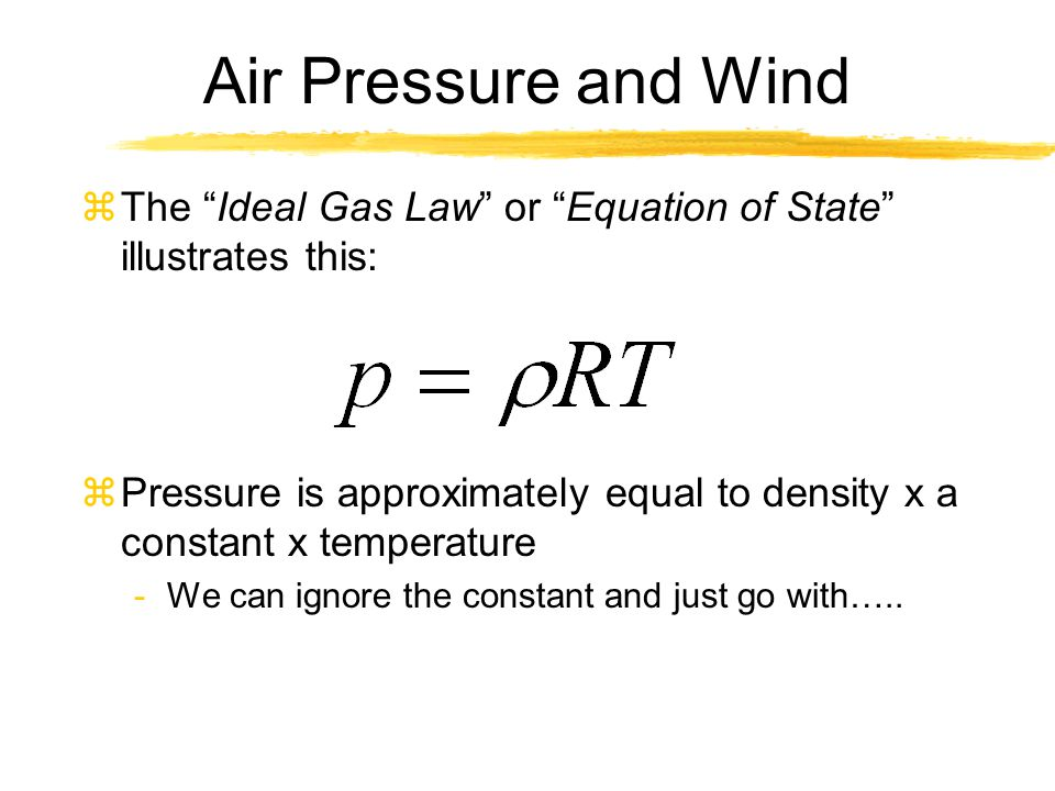 Pressure Gradient Force zDue to the difference in pressure over a distance zGreater pressure gradients lead to a greater PGF -like at the right zHurricanes are a good example -Very low pressures at the center -Pressure increases rapidly as you move away from the center -Strong PGF