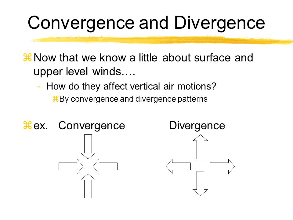 Convergence and Divergence zNow that we know a little about surface and upper level winds…. -How do they affect vertical air motions? zBy convergence