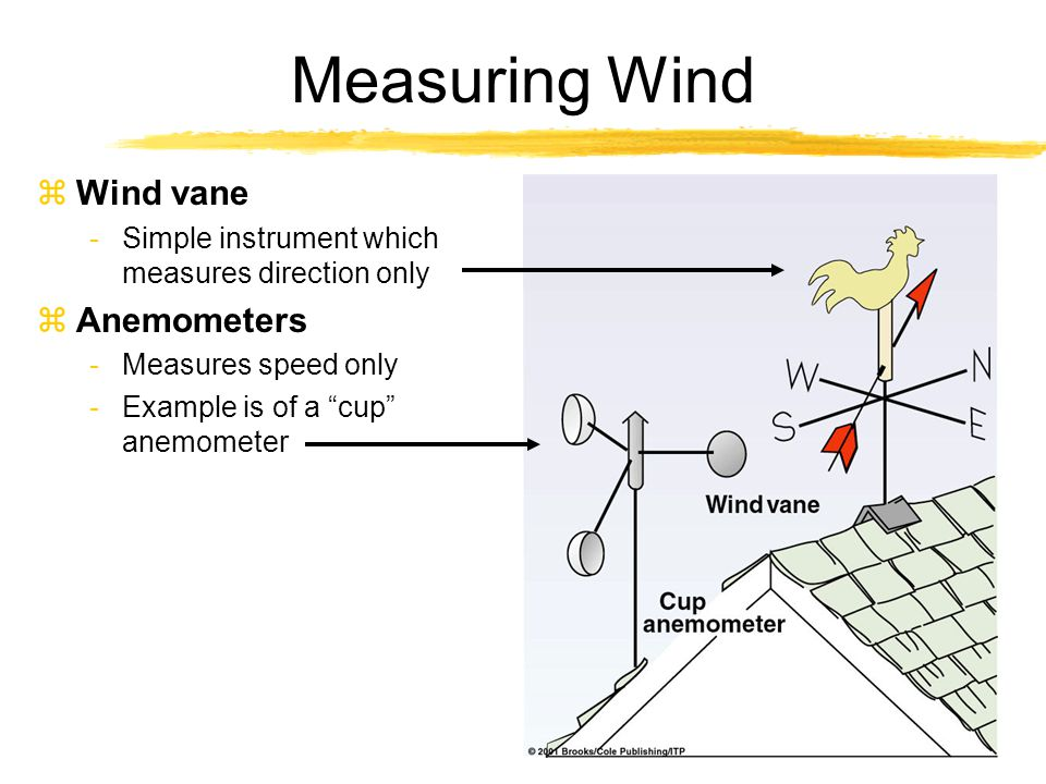 "Measuring Wind zWind vane -Simple instrument which measures direction only zAnemometers -Measures speed only -Example is of a ""cup"" anemometer"