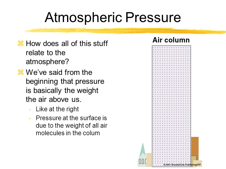 Atmospheric Pressure zSimplified model -Assumes air can't leave the column zColumns of air have the same # of molecules and are at the same temperature -The pressure at the surface is the same zWhat would happen if the temperatures of the air changed.