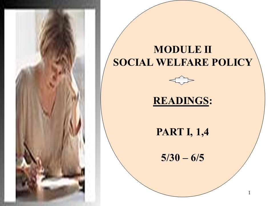 1 MODULE II SOCIAL WELFARE POLICY READINGS: PART I, 1,4 5/30 – 6/5
