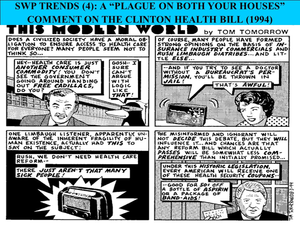 "21 SWP TRENDS (4): A ""PLAGUE ON BOTH YOUR HOUSES"" COMMENT ON THE CLINTON HEALTH BILL (1994)"