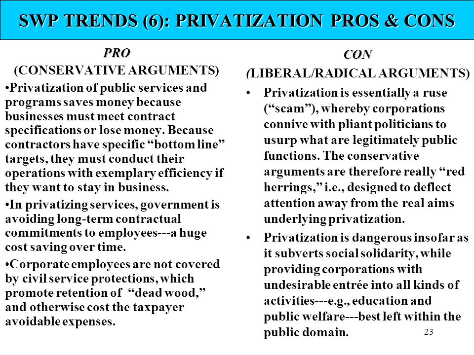 23 SWP TRENDS (6): PRIVATIZATION PROS & CONS PRO (CONSERVATIVE ARGUMENTS) Privatization of public services and programs saves money because businesses