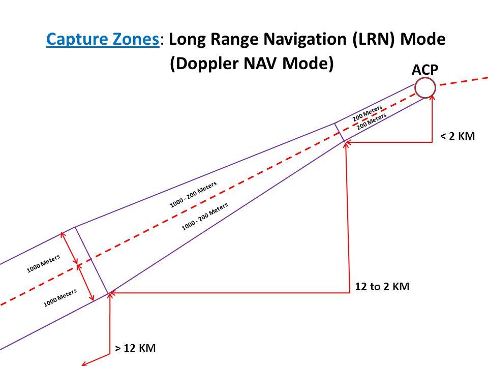 > 12 KM 12 to 2 KM < 2 KM 1000 Meters 1000 - 200 Meters 200 Meters Capture Zones: Long Range Navigation (LRN) Mode ACP (Doppler NAV Mode)