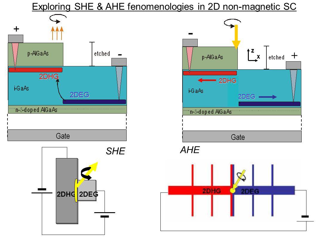 Exploring SHE & AHE fenomenologies in 2D non-magnetic SC 2DHG 2DEG 2DEG 2DHG + - Gate z x + - 2DHG 2DEG Gate SHE AHE
