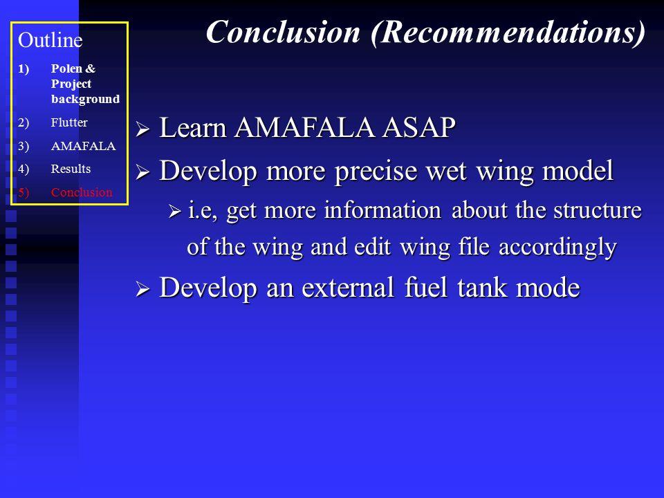 Conclusion (Recommendations) Outline 1)Polen & Project background 2)Flutter 3)AMAFALA 4)Results 5)Conclusion  Learn AMAFALA ASAP  Develop more preci